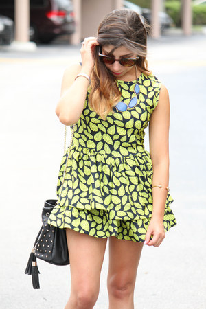 Forever 21 necklace - Choies dress - Shoedazzle bag - Forever 21 sunglasses