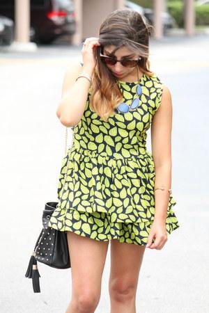 Forever 21 necklace - Choies dress - Shoedazzle bag - Forever 21 sunglasses