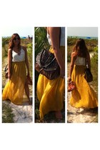 mustard Forever 21 skirt - Jessica Simpson bag - Pinkwasabiboutique necklace