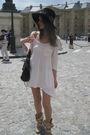Pink-h-m-dress-beige-vivienne-westwood-boots-black-maison-michel-hat