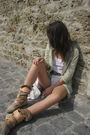 Green-blouse-beige-vivienne-westwood-shoes