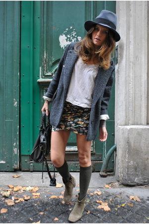gray Isabel Marant coat - green Isabel Marant boots - gray Maison Michel hat