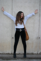 black Zara leggings - black vintage belt - gray shirt - black new look boots - o