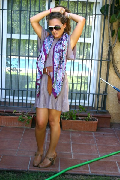 brown La Redoute shoes - purple pull&bear dress - brown BLANCO belt - purple Pri