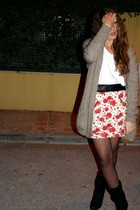 black Marypaz boots - black Primark tights - red skirt - gray jacket