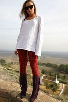 Lefties leggings - Bershka shirt - Marypaz boots - sunnies glasses