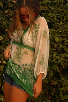 green Stradivarius blouse - blue DIY shorts - red Claires accessories
