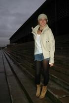 black  tights - yellow Pilar Burgos boots - blue DIY shorts - white Berskha shir
