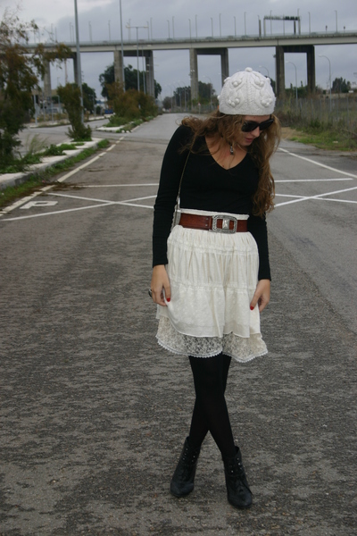 black Dorothy Perkins shirt - beige bdba skirt - black new look boots - brown vi