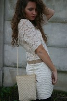 off white Demode Vintage dress - neutral vintage bag