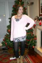 pink Lefties sweater - black  tights - yellow Pilar Burgos boots - purple new lo