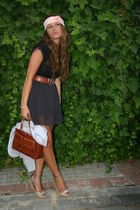 purple Stradivarius shoes - brown accessories - brown accessories - black dress