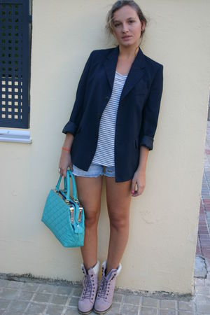blue no brand jacket - silver Zara shirt - blue Bershka shorts - blue Topshop ac