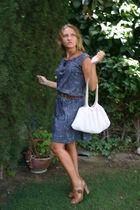 blue vintage dress - brown La redoutte shoes - brown vintage belt - white vintag