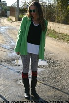 black Marypaz boots - green vintage jacket - silver Mango leggings - red socks -