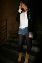black Zara Kids jacket - DIY shorts - yellow Pilar Burgos boots - white Bershka
