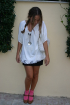 socks - BLANCO blouse - new look skirt - LaRedoute shoes - handmade accessories