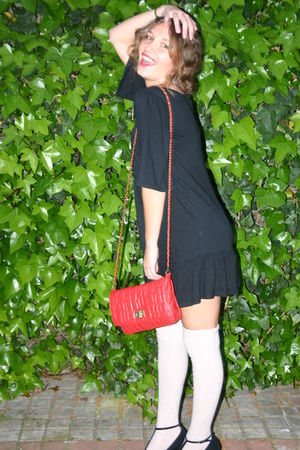 black Lefties dress - beige Calcedonia socks - black BLANCO shoes - red pull&bea