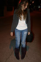 purple Marypaz boots - blue pull&bear jeans - white Stradivarius shirt - gray Le