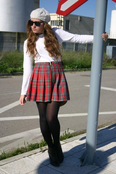 white Decathlon shirt - red handmade skirt - black new look boots - white BLANCO