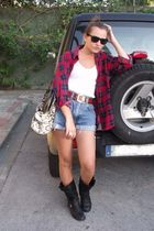 black Marypaz boots - blue vintage shorts - red vintage blouse - white Berskha t