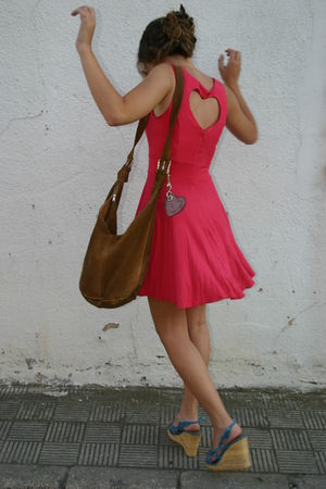 red new look dress - brown accessories - blue BLANCO shoes