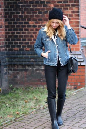 black labotti boots - black H&M jeans - navy second hand jacket - black Zara bag