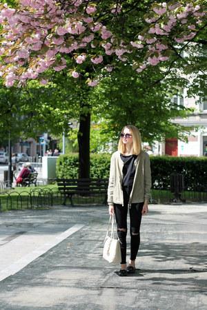 black Bershka jeans - olive green Zara jacket - light pink Michael Kors bag
