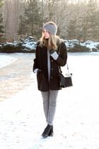 black Tally Weijl coat - heather gray c&a sweater - black Zara bag
