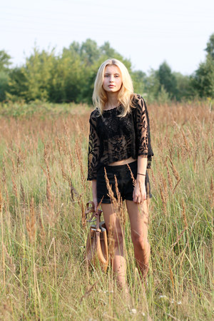 black Zara shorts - bronze Parfois bag - black c&a top