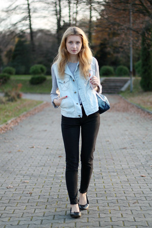 sky blue dzky bag - black secon hand jeans - silver second hand blouse
