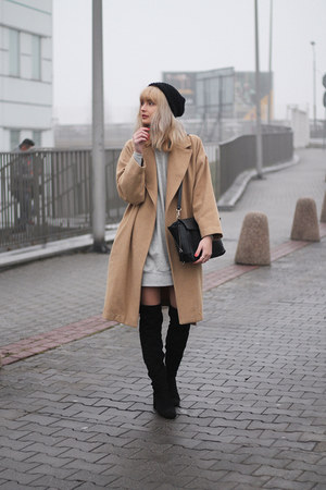 camel Stradivarius coat - black Bershka boots - heather gray Zara dress