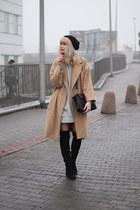 camel Stradivarius coat - black Bershka boots - heather gray Zara dress