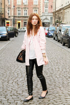 light pink second hand coat - white Mango shirt - black Parfois bag