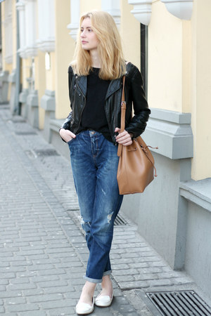white Zara shoes - navy second hand jeans - black H&M jacket