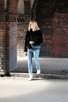 black H&M jacket - light pink Bershka shoes - light blue pull&bear jeans