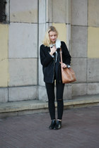 bronze second hand sweater - black Bershka jeans - black reserved jacket