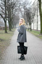 heather gray second hand coat - black Zara bag