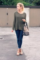 H&M sweater - second hand jeans - Glitter bag - H&M heels