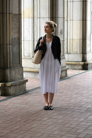 black Zara shoes - white DressLink dress - black H&M jacket