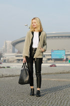 black CCC boots - dark khaki Zara jacket - white second hand top