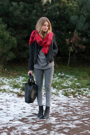 red H&M scarf - gray Bershka jacket - black Mannzana bag