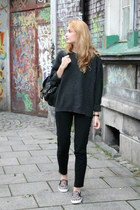 black Primark bag - charcoal gray second hand sweater - black H&M pants