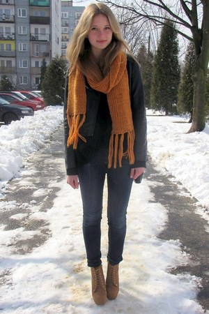 H&M jeans - H&M jacket - Stradivarius sweater - reserved scarf