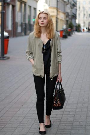 dark khaki Zara jacket - black Parfois bag