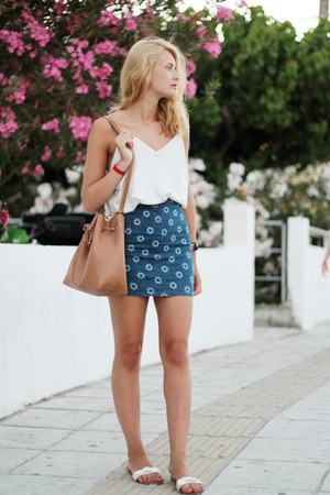 white Inside sandals - bronze Parfois bag - white vintage top - navy H&M skirt