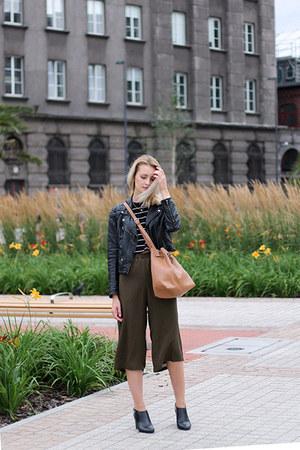 black H&M jacket - tawny Parfois bag - army green Bershka pants