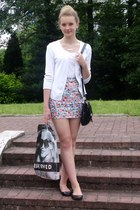 skirt - black shoes - black bag - ivory top - white cardigan