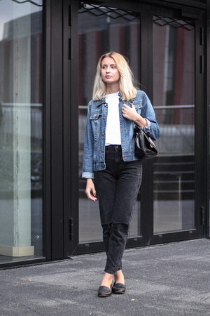 black pull&bear jeans - navy John Baner jacket - black Zara bag