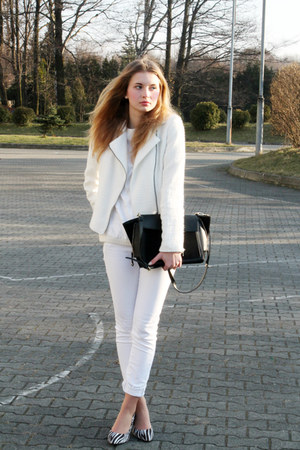 white c&a jacket - white H&M sweater - black Zara bag - white Mango pants
